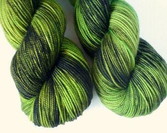 Merino Sock Yarn - Hand Dyed Superwash Merino Fingering Weight Yarn in Green Lantern Colorway