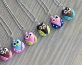 Polymer Clay Owl Pendant Necklace with Swarovski Elements Glass Beads