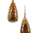 Tiger Iron Caged wire Earrings OOAK