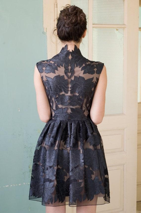 Mini little black lace dress