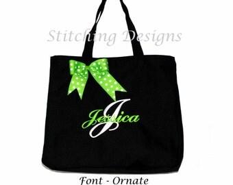 Monogrammed Tote Bag - BLACK -  Beach Bag, Bride, Bridesmaid Bag Mother of Bride or Groom, Diaper Bag WITH BOW