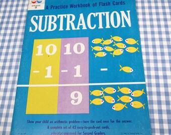subtraction - a practice workbook of flash cards, vintage 1962 children's book, UNUSED