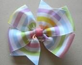 "Spring Hair Bow - Pastel Stripes - 4"" or 5"" Large Pinwheel Bow - Pink Purple Yellow Green Orange Blue - Striped Bow - Pastel Spring Bow"