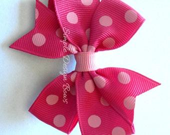 """Hot Pink Hair Bow - 3"""" or 4"""" Medium Pinwheel Bow - Polka Dots - Polka Dot Bow - Shocking Pink Bow"""