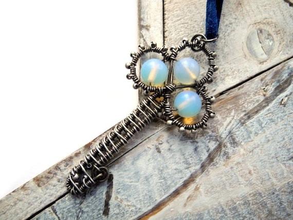 Sterling silver pendant, skeleton key necklace, Opalite necklace, opalescent gemstones, secret garden key, fantasy necklace