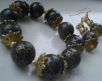 Navy Blue & Gold Bracelet with Matching Earrings