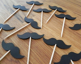 Party Pick: Little Man Mustache Baby Shower or Birthday Party die cut black mustaches pick mini cupcake topper