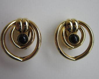 Vintage Earrings Modernist Black Cabochon Gold tone Earrings Clip on