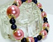 Christmasinjuly, Sale, Pink Bracelet, Stretchy Pearl Bracelet, PINK Pearls, Bracelet with blue Vintage Glass beads, Wedding Gift
