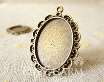 Antique Bronze Cameo Cabochon Base Settings 33x26mm ( Inner Size 25x18mm ) - 2Pcs - DS23609