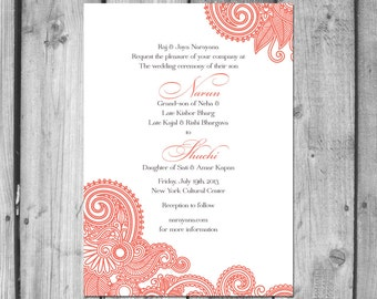 Henna Inspired Wedding Invitation Set
