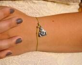Wish Bracelet- Silver Buddha on Green Natural Hemp Cord