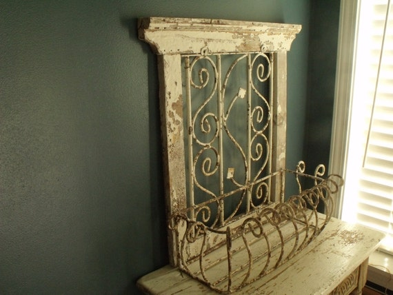 Antique Wood Window Frame Wrought Iron Planter French Quarter