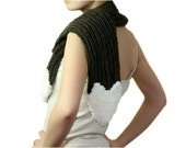Brown Knit Scarf with Creme Heart - Women Teens Accessories - Fall Winter Fashion - Neutral