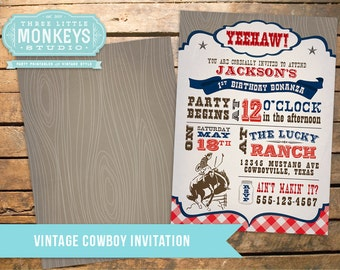 Vintage Cowboy Invitation in Navy PLUS Matching Thank You Note