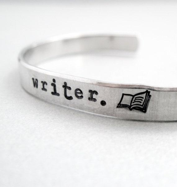 Custom Personlized Bracelet - Writer - pure aluminum cuff