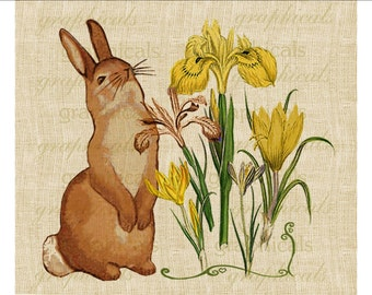 Easter bunny rabbit Yellow spring flowers Instant Digital download image for iron on fabric transfer burlap decoupage pillows totes No 584
