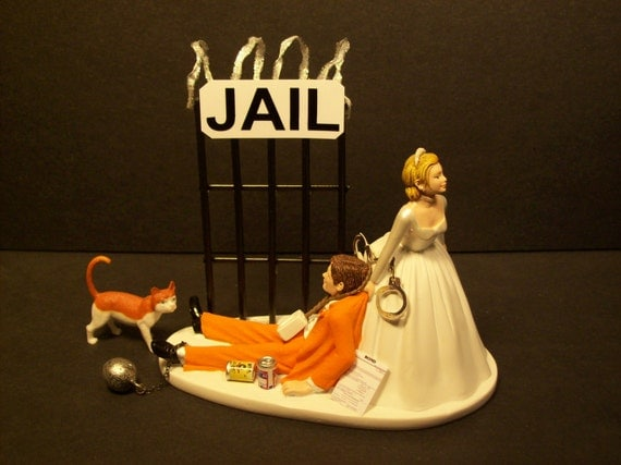 Stay Out Of Prison Or Jail Bride Amp Groom Wedding Cake Topper
