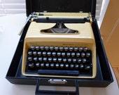 Vintage Yellow Remington Quiet Riter Portable Typewriter