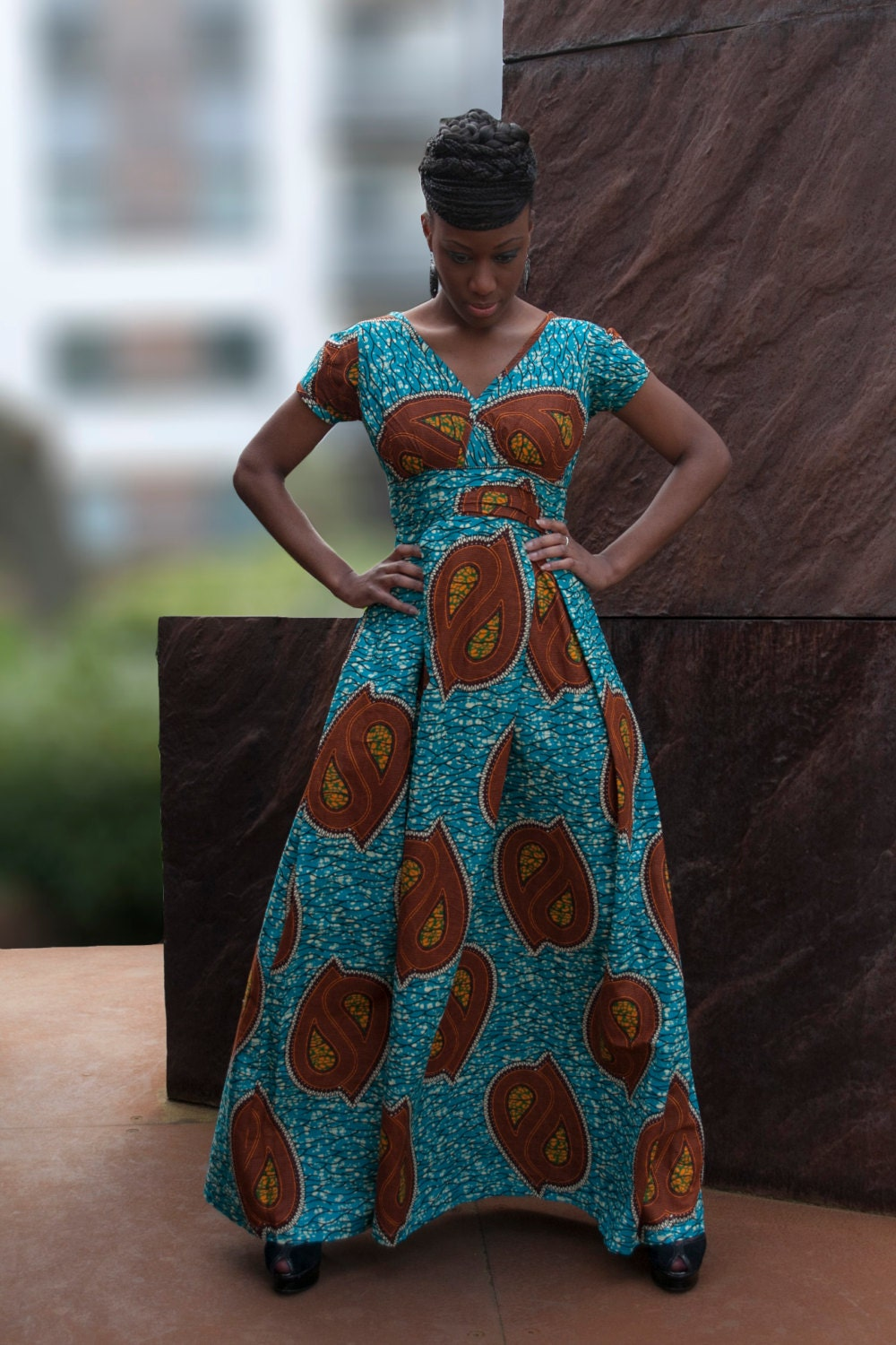 African Print Maxi Dress By Gitas Portal