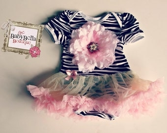 Black and white zebra Onesie pink tutu  ,Baby Girl romper.