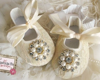 Baby Girl  Champagne Lace  Crib Shoes  ,Baby Shoes,Christening, Baptism, Wedding, Ready to ship