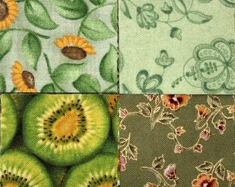 Quilt Fabric, Precut Fabric Squares GREEN Mix, 45 2 inch Squares, Quilting Fabric, Postage Stamp Quilt, Quiltsy Destash