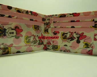 hand made duct tape wallet with minnie mouse all over it