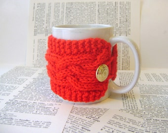 Cup Cozy Cable Knit in Red with Vintage Button, Mug Cozy, Tea Cozy, Mug Sweater Sleeve Cup Warmer