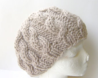 Cable Knit Hat Beanie, Soft Wool Blend in Beige