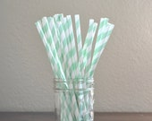 25 Mint Green Stripe Paper Paper Straws, Made in USA, Flat Rate Shipping
