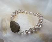 Handmade Chainmaille Bracelet: Jasper Box Clasp with Argentium Sterling and Rose Gold Filled Rings