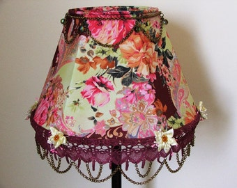 Floral Table Lamp Fabulous Fancy  Kitsch Antique Look and Style  with Brass Chains,Lace and Flowers.