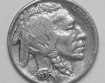 1936 buffalo  Nickel Very Fine Condition