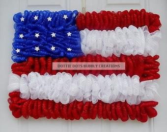 Patriotic  Flag Mesh Wreath