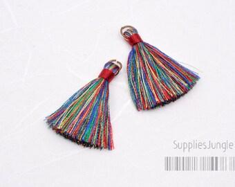 T001-RR// Rainbow, Red Rayon Tassel Pendant, 4pcs, 40mm x 8mm