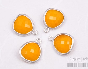 F102-MR-TG// Matt Original Rhodium Plated Framed Tangerine Pendant, 2Pc