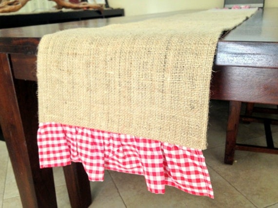 Items similar to burlap gingham ruffle table runner 6 for 12 ft table runner
