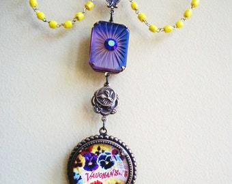 "CLEARANCE!!!   Handmade Gypsy NECKLACE - ""Eventide"" - Vintage Glass & Aluminum Chains, Vintage Frosted Glass Pendant, Pansies, Bee, Bohemian"