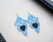 Lace Earrings in Blue with Black Beaded Hearts