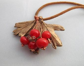 Hawthorn handmade metal clay and lampworked glass necklace OOAK
