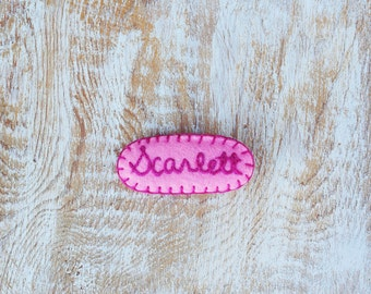 Girls Personalized Hair Clip, Girls Name Hair Clip, Girls Easter Gift, Girls Hand Embroidered Hair Clip, Toddler Hair clips, Pink,