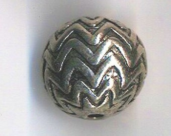Antiqued Silver Bead With A Zig Zag or Chevron Design - 20mm round - Lead and Nickel Free - Set of 6