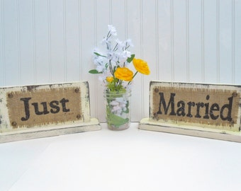 Sweetheart table wedding signs table top, Just and Married, self standing burlap distressed wood