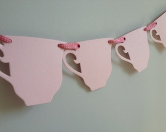 Paper party supplies-tea party theme, One 6ft  pink paper teacup banner with pink ribbon.