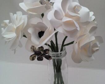 Medium paper anemone and roses. Elegant bridal bouquet. White rose, white and black Anemone