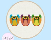 INSTANT DOWNLOAD Cute Owls Cross Stitch Pattern PDF