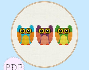 INSTANT DOWNLOAD Cute Owls Cross Stitch Pattern PDF