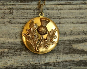 Thistle Locket Necklace, Available in Aged Brass or Silver