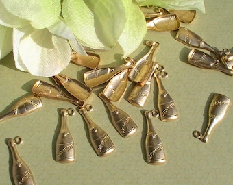 Champagne Bottle Charm Brass Stamping Jewelry Supplies Jewelry Making Supplies Wedding Mixed Media DIY Supplies Charms 8pcs